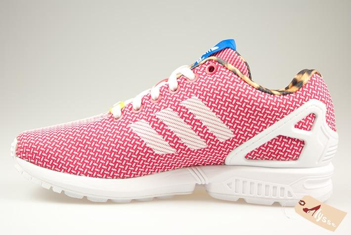adidas zx flux rose et blanche